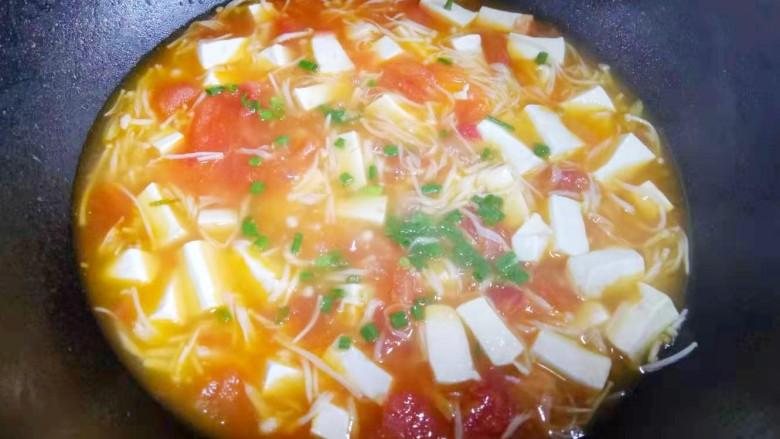 番茄金针菇豆腐汤,等再次水开,撒上葱花,加入适量盐调味,出锅开吃!