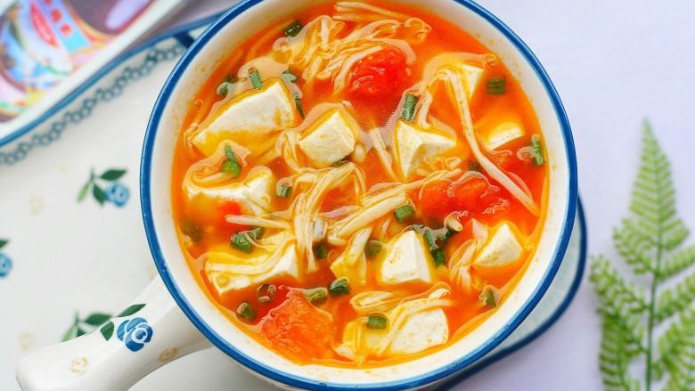 番茄金针菇豆腐汤,无敌鲜美。