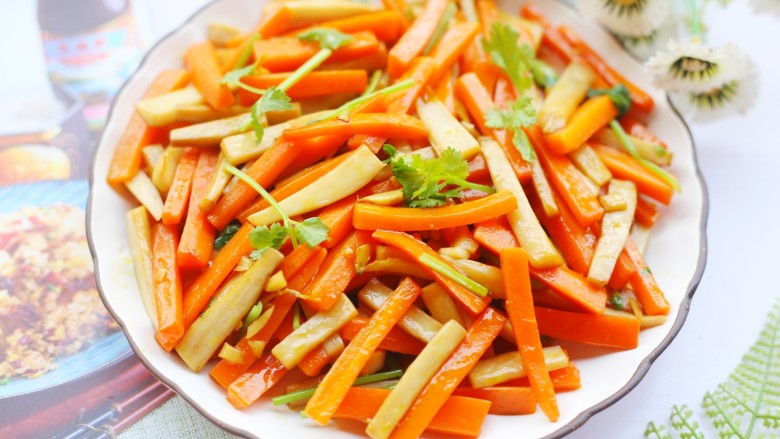杏鲍菇炒胡萝卜,做起来。