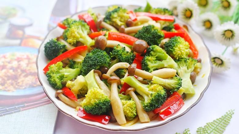 西兰花炒菌菇,成品。