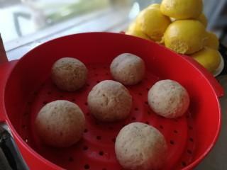 红枣馒头,滚圆放在蒸锅里。盖盖饧发5分钟。