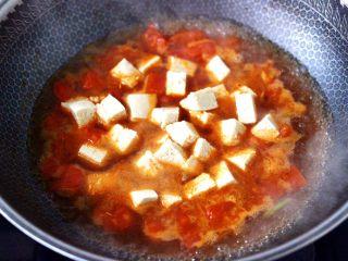 鲍鱼番茄海鲜豆腐浓汤,锅中倒入适量的清水,先放入冻豆腐。