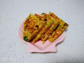 玉米面、包菜、鸡蛋、尖椒饼