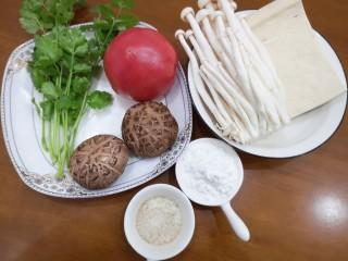 菌菇豆腐汤,食材大合影😊