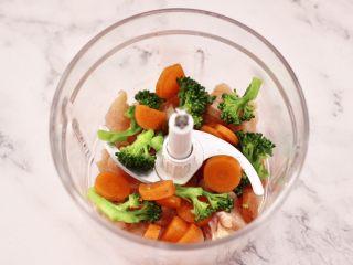 鸡肉西兰花肠,鸡胸肉切小丁放入料理机,再放入焯过水西兰花和胡萝卜搅打成泥。
