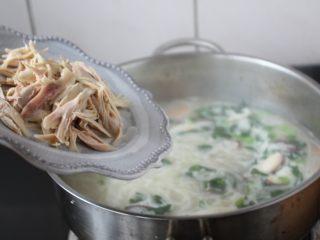 童子鸡鸡汤面,放入提前撕好的鸡丝肉。