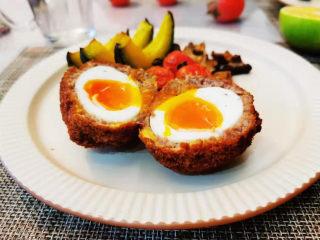 苏格兰炸鸡蛋-鸡蛋的花式吃法,搭配烤南瓜,西红柿和香菇,妥妥的营养早餐