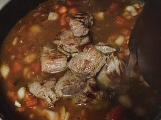 大块牛肉罗宋汤,加牛肉,加水