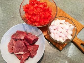 大块牛肉罗宋汤,牛肉切大块 ,洋葱切丁,去皮西红柿切丁