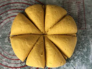南瓜豆沙馒头,揉好的南瓜面团,平均分成8分等份;不用发酵至二倍大