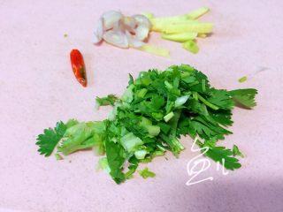 冬瓜鲫鱼汤,葱姜、香菜切碎
