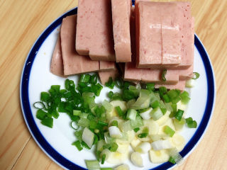 香菇板栗,火腿切粗条状、葱蒜切碎待用。