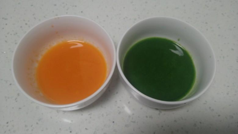 皮菜拌双色手擀面,将<a style='color:red;display:inline-block;' href='/shicai/ 25'>胡萝卜</a>、皮菜榨汁,分别取出65克