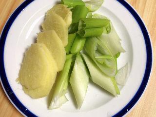 萝卜牛腩煲,切好大葱和姜片。