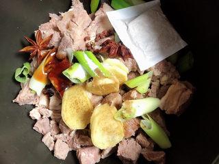 萝卜牛腩煲,放入调料,盐、大料、花椒、料酒、蚝油、生抽、炖肉料包。