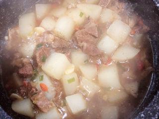 萝卜牛腩煲,萝卜熟了即可出锅了。