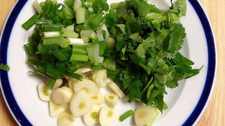 萝卜牛腩煲,配菜切碎待用。