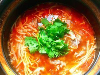 金针菇番茄肥牛锅,倒入肥牛片,焖煮1分钟,最后加入适量的盐和香菜即可享用。