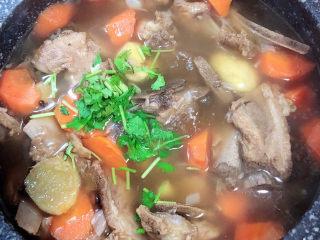 板栗排骨汤,关火儿,撒上香菜末。