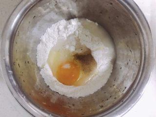 葱香鸡蛋饼,少许水。一次性不要加太多,慢慢加。