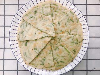 葱香鸡蛋饼,两面焦黄就可以起锅切块,趁热吃
