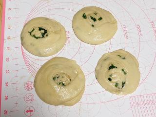 葱香鸡蛋饼,切面朝上立在案板上,用手掌压扁。压成小圆饼状。