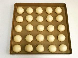 奶香面包,依次滚圆后放入不粘烤盘中。