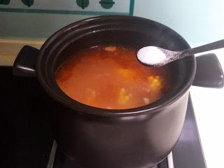 山药玉米排骨汤,加入精盐调味即可
