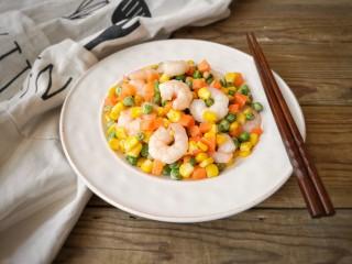 玉米炒虾仁,成品。