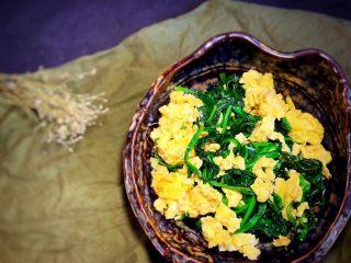 鸡蛋炒菠菜,出锅