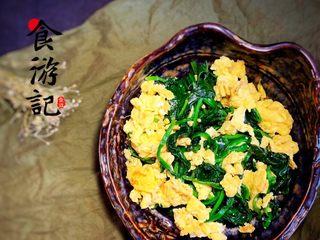 鸡蛋炒菠菜,完成