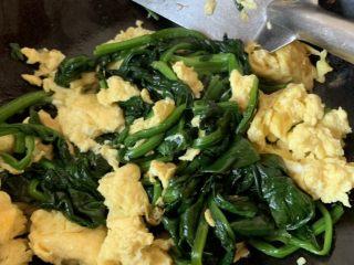 鸡蛋炒菠菜,翻炒均匀