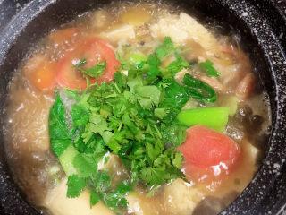 海鲜豆腐煲,撒上香菜末,搅拌均匀,即可出锅了。