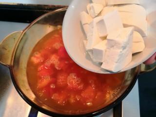 番茄金针菇汤,煮开后,倒入豆腐块