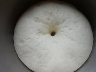 香菇卤肉丁包,面团发到2倍以上大。