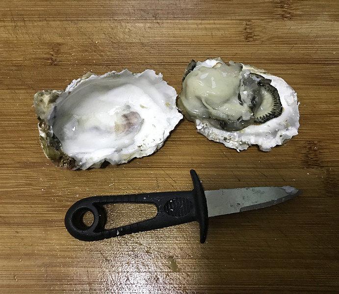 蒜蓉粉丝蒸生蚝,用工具将生蚝外壳撬开,并把生蚝壳里的汁水倒入碗中;这可不是什么脏的海水,是精华;生蚝最鲜的就是它了;接着将生蚝的半个外壳冲洗一下摆在盘子里