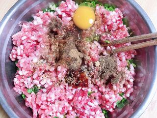 酸辣馄饨,放入盐、蚝油、生抽、花椒粉、十三香,鸡蛋、鸡精。