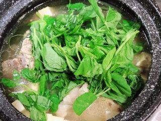 海带骨头汤,开盖儿,尝一下咸淡味,如果咸度够就不用放盐,海带的咸味会比较重。放入豌豆苗。
