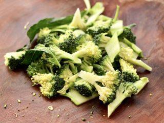 西兰花溜鸡肉条,西兰花用刀切成小块,茎切薄片。