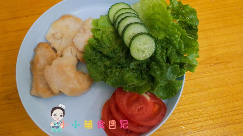 12个月以上辅食小熊汉堡,各种蔬菜切片,黄瓜 番茄 生菜等等