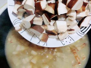 家常卤肉饭,五花肉炖煮6成熟时,加入香菇块儿,开大火烧开。