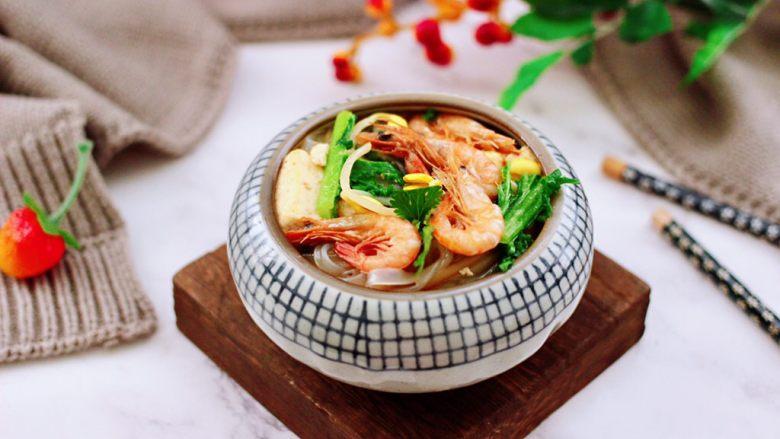 苔菜海虾粉条一锅炖