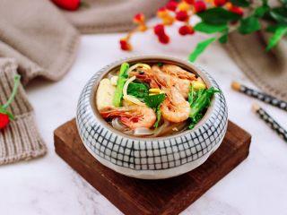 苔菜海虾粉条一锅炖,成品一