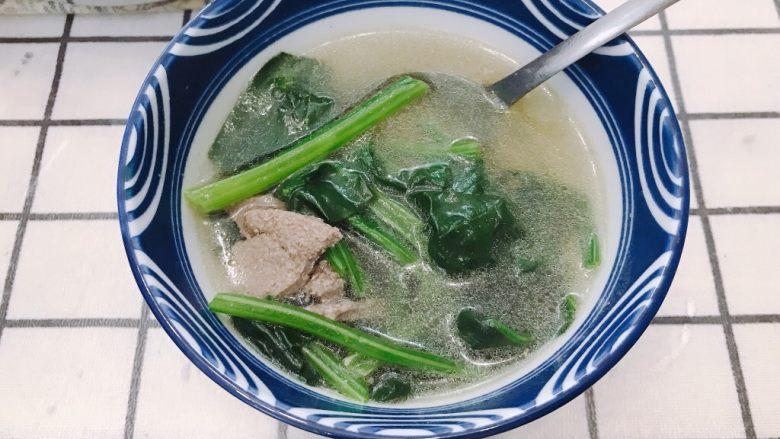 猪肝菠菜汤,开动啦
