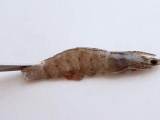 金蒜粉丝蒸海虾,从虾尾开始,用剪子一直剪到刚才用刀切开的地方。