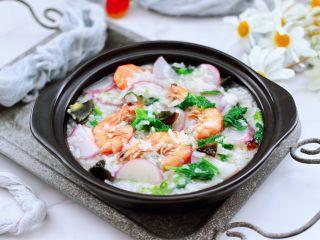 海蝦皮蛋蘿卜粥,成品一