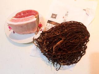干豆角红烧肉,准备食材:五花肉,干豇豆