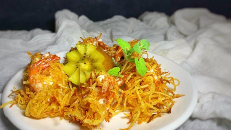金丝凤尾虾,摆盘