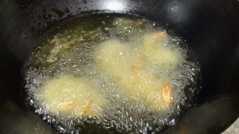 金丝凤尾虾,炸