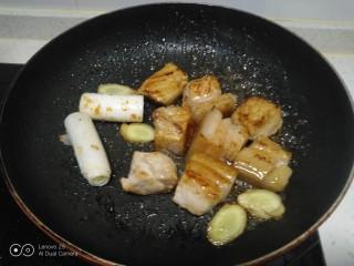 红烧肉炖冬瓜,放入姜、葱段